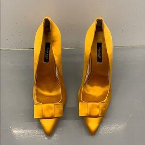 Zara Yellow Silk Pointy Heels